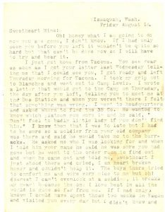 August 15, 1918 letter from Minnie Wilson to Jake Schomber. Page 1.
