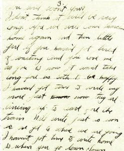 August 14, 1918 letter from Jake Schomber to Minnie Wilson. Page 3.