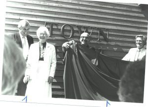 Al Swanson, Ellen Goleeke, Bill Goleeke, and Ed Dean at the opening of the Town Hall at Providence Point, 1987.