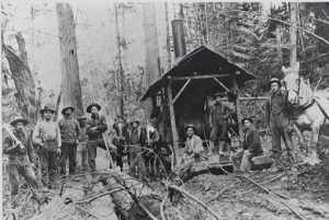 Logging Crew with Steam Donkey