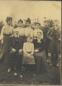 Front: Mahlon, Helen and Abbie Eastlick. Back: Nell, Mary, Grace, Iva, Glenn and John Eastlick.
