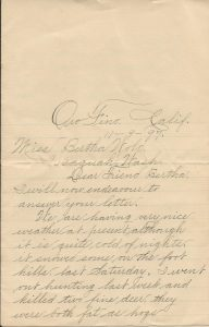 1897 letter from Walter Lorin Lane to Bertha Wold.