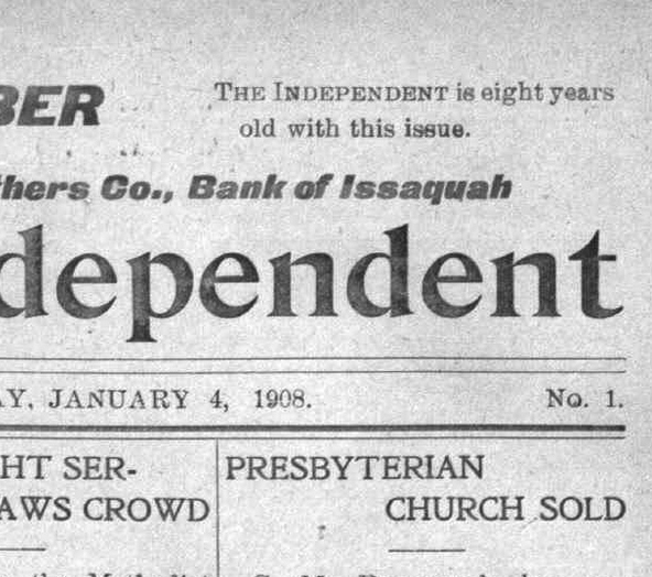 Detail of The Issaquah Independent's eighth anniversary edition.